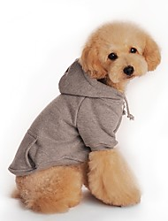 Dog Hoodie Dog Clothes Warm Casual/Daily Solid Black Orange Gray Red Costume For Pets