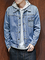 cheap -Men's Daily Going out Plus Size Simple Casual Street chic Spring Fall Denim Jacket,Solid Shirt Collar Long Sleeve Short Polyester Spandex