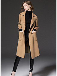 Women's Casual/Daily Simple Winter Coat,Solid Shirt Collar Long Sleeve Long Wool Polyester