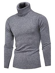 cheap -Men's Daily Work Regular Pullover,Solid Turtleneck Long Sleeves Polyester Winter Fall Medium Micro-elastic