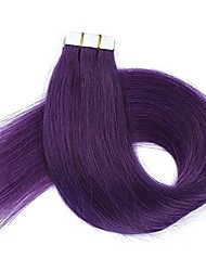 Tape In Human Hair Extensions - 16 Inch-24 Inch 20pcs Purple Silky Straight Skin Weft Human Remy Hair