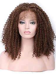 Women Synthetic Wig Lace Front Medium Kinky Curly Brown Middle Part Sew in 100% kanekalon hair With Baby Hair Natural Wigs Costume Wig