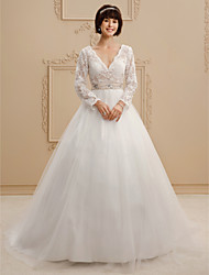 A-Line Princess V-neck Court Train Lace Tulle Wedding Dress with Beading Sashes/ Ribbons by LAN TING BRIDE®