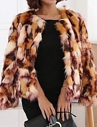 baratos -Mulheres Curto Casaco de Pêlo Festa Diário Vintage Fofo Moda de Rua Inverno, camuflagem Pêlo Sintético Pêlo de Raposa Decote Redondo