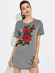 abordables -Mujer Corte Ancho Vestido - Bordado, Floral Mini / Verano / Patrones florales