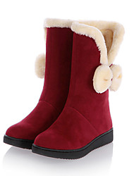 Для женщин Обувь Нубук Осень Зима Удобная обувь Оригинальная обувь Зимние сапоги Модная обувь Ботинки На танкетке Круглый носок Сапоги до