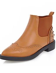 baratos -Mulheres Sapatos Couro Ecológico Inverno Outono Botas da Moda Curta/Ankle Conforto Inovador Botas Sem Salto Dedo Apontado Botas Curtas /