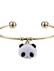 Femme Manchettes Bracelets Bijoux Animal Naturel Alliage Forme de Cercle Panda Bijoux Pour Fiançailles Cérémonie