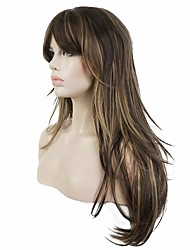 cheap -Synthetic Wig Straight Layered Haircut Synthetic Hair Highlighted / Balayage Hair Brown Wig Women's Long Capless