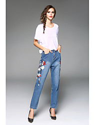 cheap -Women's Mid Rise Micro-elastic Pants Pants,Chic & Modern Floral Polyester Summer