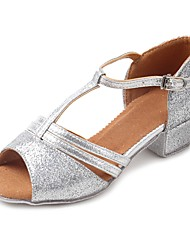 cheap -Latin Shoes Sparkling Glitter / Leatherette / Glitter Sandal / Heel Practice Sequin / Sparkling Glitter / Buckle Chunky Heel Customizable