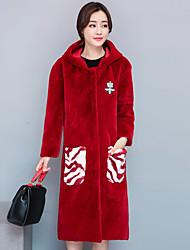 Cappotto di pelliccia Da donna Per uscire Moda città Autunno Inverno,Tinta unita Monocolore Con cappuccio Cashmere Poliestere Lungo