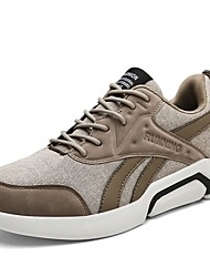 cheap -Men's Shoes PU Spring Fall Comfort Athletic Shoes Track & Field Shoes Lace-up For Athletic Outdoor Khaki Gray Black