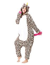 Kigurumi Pajamas Unicorn Costume Brown Flannel Kigurumi Leotard / Onesie Cosplay Festival / Holiday Animal Sleepwear Halloween Leopard