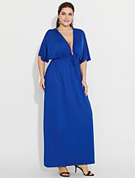 baratos -Mulheres Tamanhos Grandes Bainha Vestido - Franzido, Sólido Decote em V Profundo Longo Azul