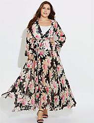abordables -Femme Bohème Mousseline de Soie Balançoire Robe Plage Bohème,Fleur V Profond Maxi Manches Longues Rouge Polyester Printemps Eté Taille Haute