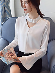 Women's Casual/Daily Work Simple Spring Fall Blouse,Solid V Neck Long Sleeves Polyester Thin