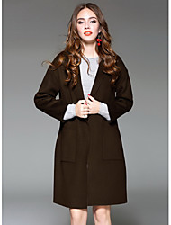 Women's Going out Street chic Winter CoatSolid Shirt Collar Long Sleeve Long Wool