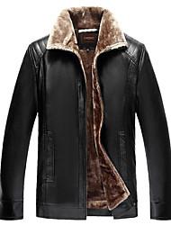 abordables -Veste de cuir Homme,Couleur Pleine Quotidien simple Décontracté Hiver Manches longues Col de Chemise Normal Autres