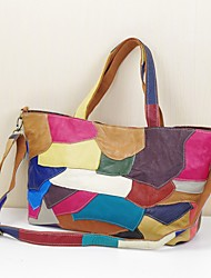 Women Bags All Seasons Cowhide Shoulder Bag Tiered for Event/Party Casual Rainbow