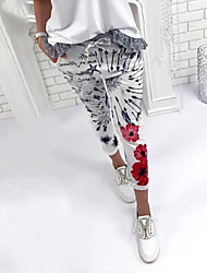 cheap -Women's High Rise Inelastic Skinny Pants, Street chic Floral All Seasons