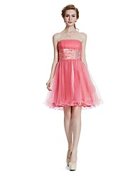 cheap -A-Line Strapless Short / Mini Tulle Cocktail Party Prom Dress with Crystal Detailing Draping by W.JOLI