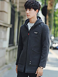 Men's Casual/Daily Simple Fall Jacket,Letter Hooded Long Sleeve Regular Others