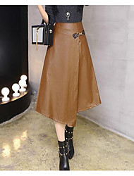 Women's Going out Midi Skirts A Line Solid Fall Winter