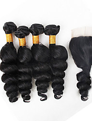 cheap -Brazilian Hair Loose Wave Human Hair Weaves 5 Pieces Natural Color Hair Weaves