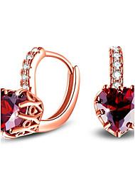 abordables -Femme Cœur Zircon cubique Argent sterling / Zircon Boucles d'oreille goujon - Mode / Style Simple Rouge / Bleu / Or Rose Des boucles
