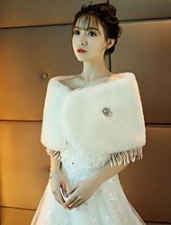 Stole da donna Mantelline Pelliccia sintetica Matrimonio Party/serata Spilla di cristallo Tessellato