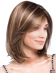 cheap -Synthetic Hair Wigs Straight Highlighted/Balayage Hair Capless Natural Wigs Medium Brown