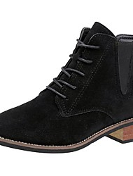 cheap -Women's Shoes PU Suede Fall Winter Comfort Combat Boots Boots Chunky Heel Round Toe Mid-Calf Boots Lace-up For Casual Black