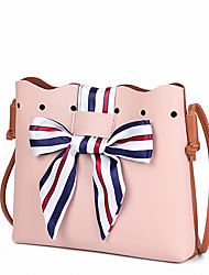 Women Bags All Seasons PU Shoulder Bag Sashes/ Ribbons for Event/Party Shopping Blue Black Red Blushing Pink Gray