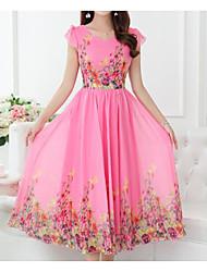 Courte Balançoire Robe Femme Sortie Décontracté / Quotidien Mignon,Fleur Col en V Midi Manches Courtes Acrylique Polyester Eté Taille
