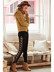 Lungo Pullover Da donna-Casual Semplice Tinta unita Rotonda Manica lunga Acrilico Autunno Medio spessore Media elasticità
