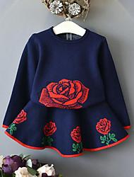 Girls' Jacquard Sets,Rayon Fall Winter Long Sleeve Clothing Set