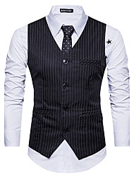 cheap -Men's Daily Going out Simple Casual Winter Fall Regular Vest, Striped V Neck Cotton
