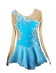 Figure Skating Dress Women's Girls' Ice Skating Dress Pale Blue Spandex Rhinestone Appliques High Elasticity Performance Skating Wear