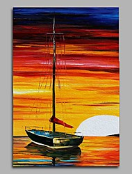 Hand-Painted Landscape Vertical,Artistic Birthday Modern/Contemporary Office/Business One Panel Canvas Oil Painting For Home Decoration