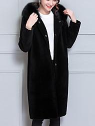 Cappotto di pelliccia Da donna Feste Ufficio Taglie forti Vintage Moda città sofisticato Inverno,Tinta unita Con cappuccio Altro