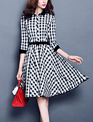 Women's Going out Plus Size Street chic A Line Dress,Check Patchwork Shirt Collar Knee-length 3/4 Length Sleeves Polyester Fall Mid Rise