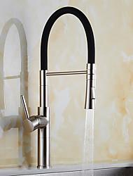 Moderno Pull-out / Pull-down Boquilla estándar Lavabo Separado Rotativo Extraíble Válvula Cerámica Níquel Cepillado , Grifería de Cocina