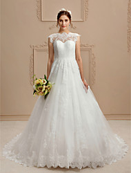 A-Line High Neck Chapel Train Lace Wedding Dress with Appliques Buttons by LAN TING BRIDE®