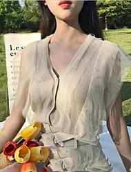 Damen Kurz Strickjacke-Klub Sexy Solide V-Ausschnitt Kurzarm Seide Sommer Extra transparent Mikro-elastisch