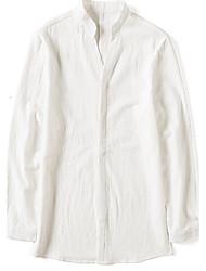 Chemise Homme,Couleur Pleine Sortie Décontracté / Quotidien Vintage simple Manches Longues Col de Chemise Coton Autres