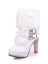 abordables -Mujer Zapatos PU Otoño Invierno Confort Botas Tacón Stiletto Botines/Hasta el Tobillo Para Casual Blanco Negro