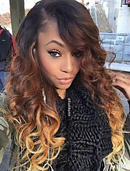 cheap -Women Human Hair Lace Wig Glueless Lace Front 130% Density Body Wave Wigs Brazilian Hair Black/Medium Brown/Strawberry Blonde Medium Long