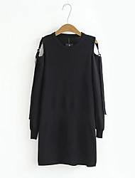 Women's Going out Casual/Daily Simple Street chic Little Black Dress,Solid Round Neck Above Knee Long Sleeves Silk Summer Fall Mid Rise