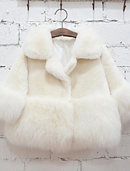 cheap -Girls' Solid Jacket & Coat,Faux Fur Special Fur Types Winter Long Sleeve White